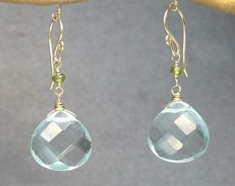 Peridot & Aquamarine Crystal Gemstone Earrings Victorian 144
