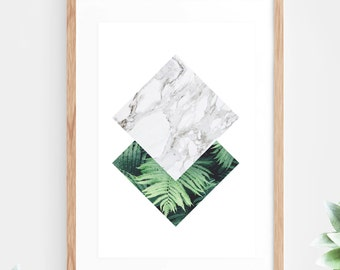 Geometric Tropical Plant Leaf Printable Wall Art Marble Instant Download Downloadable Art Poster Wall Decor Leaves Fern Plant Minimalist
