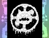 Cat Voodoo Bones Canvas Punk Patch in Black