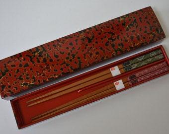 Tsugaru-nuri  lacquerware chopsticks case, vintage Japanese