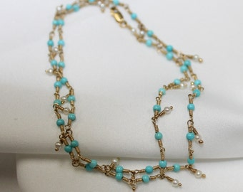 14k gold necklace with turquoise and pearl beads