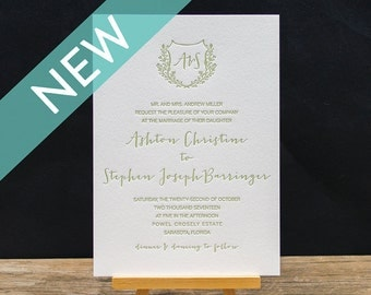 Ashton Letterpress Wedding Invitation Suite - DEPOSIT