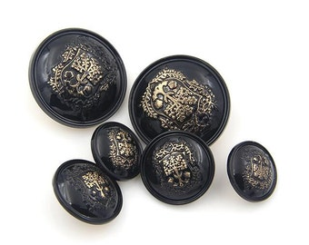 6 pcs 0.59~0.98 inch Black Light Gold Canopy Metal Shank Buttons for Fashion Coats