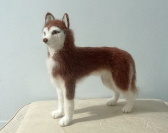 Woolen Sculpture Siberian Husky Dog - Needle Felt - OOAK