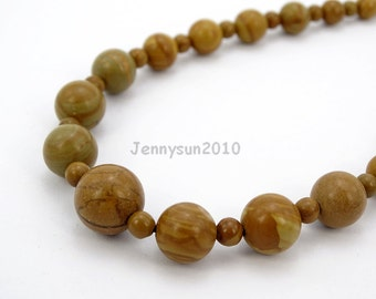 Handmade Natural Woodgrain Gemstone Beads 4~12mm Graduated Adjustable Necklace Healing Jewelry Making