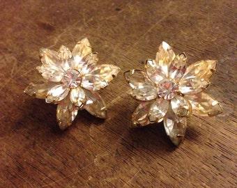 Crystal Flower Rhinestone Clip On Earrings