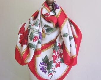 CHRISTMAS vintage scarf, large silk scarf, Xmas silk scarf, Large square scarves, Holiday silk scarf, festive accessories, red and green