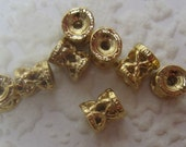 Textured Filigree 5.5x5MM Gold or Silver Spacer Bead, Anti-Tarnish
