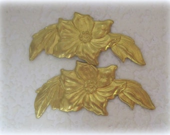 Dogwood Poinsettia Spray 54MM Leaves Raw Brass Stamping