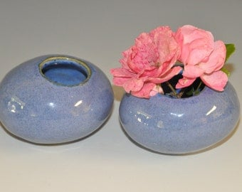 Miniature ceramic vase - set of two, Indigo blue pebble-like mini vase/container, ready to ship, gift