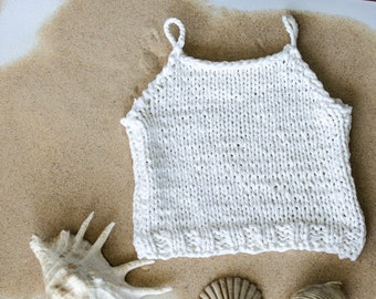 Knit Crop Top, White Cotton Top, Bikini Cover Up ,Hippie Crop Top, Gypsy Crochet Top , Summer Tank Top, Boho, Crochet Halter