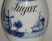 Vintage German White & Delft Blue Sugar Canister G. M. T. Bro. Country Kitchen Stoneware Vase Blue Onion Pattern Utensil Holder