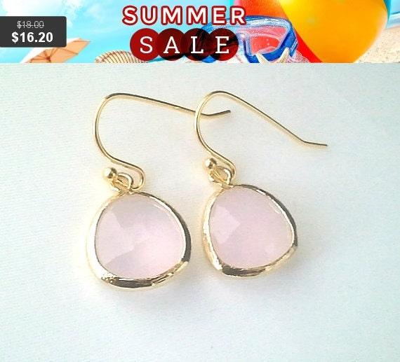 Blush Pink Earrings, Ice pink  Drop Earrings, Dangle earrings, wedding Earrings, bridesmaid gifts, Prom Earrings, Bridal Jewelry