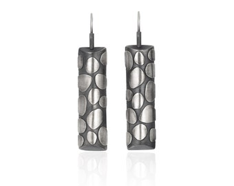 Sterling Silver Cylinder Drop Earrings, Pebble Texture Oxidized Silver Contemporary Jewelry Unique Artisan Sculptural Handmade Metalwork
