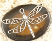 Fancy, Filigree Dragonfly  Charm, Antique Silver (4) - S75