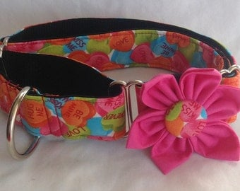 "Valentine Martingale Dog Collar Flower Set 1"" and1.5""  - Valentines - Be Mine  - Size s, M, L, XL"