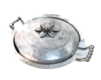 vintage fancy aluminum, covered casserole server, Thanksgiving table ware,  1940's