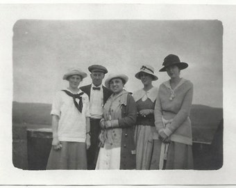 Old Photo Women and Man wearing Hats Skirts 1920s Photograph snapshot vintage