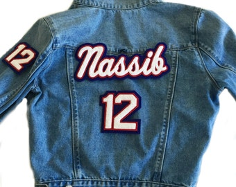 Custom Denim Jacket with Name and 2 Number Patches
