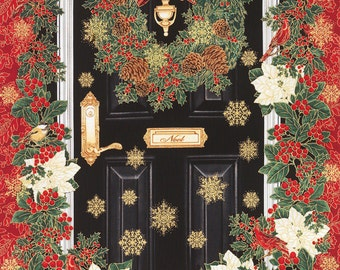 Glamorous Holiday Christmas Door 100% Cotton Quilting Fabric Panel Timeless