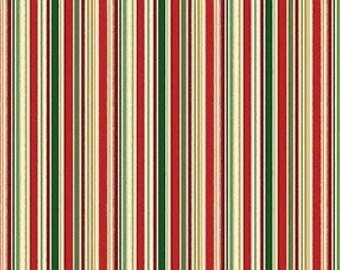 Fat Quarter Metallic Christmas Stripes 100% Cotton Quilting Fabric Makower