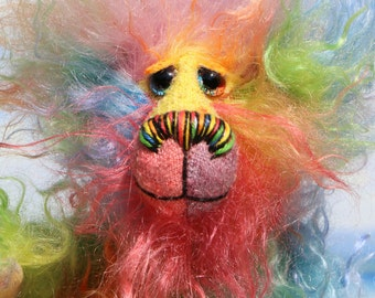 Tootie Frootie, a joyous and fluffy celebration of colourful happiness, a one of a kind, hand dyed mohair, artist bear by Barbara-Ann Bears