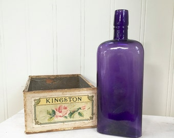 Vintage PURPLE GLASS BOTTLE - Amethyst Bottle - Large  Bottle - Wedding Decor