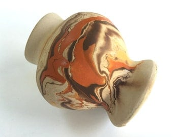 Vintage NEMADJI Pottery Vase - Indian Pottery - Signed Swirled Orange Brown - Southwestern Vase