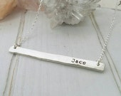 "Sterling Silver Bar Necklace, Thick & solid, 2"" long, Personalized Name bar Necklace, 2 sided, Stamp both sides, Hammered Bar Necklace, Date"