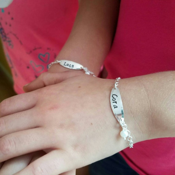Twins Matching Bracelets, Sterling Silver Childrens bracelet, Personalized ID bracelets, Custom Made Name bracelet, ID Bracelet, Twins set