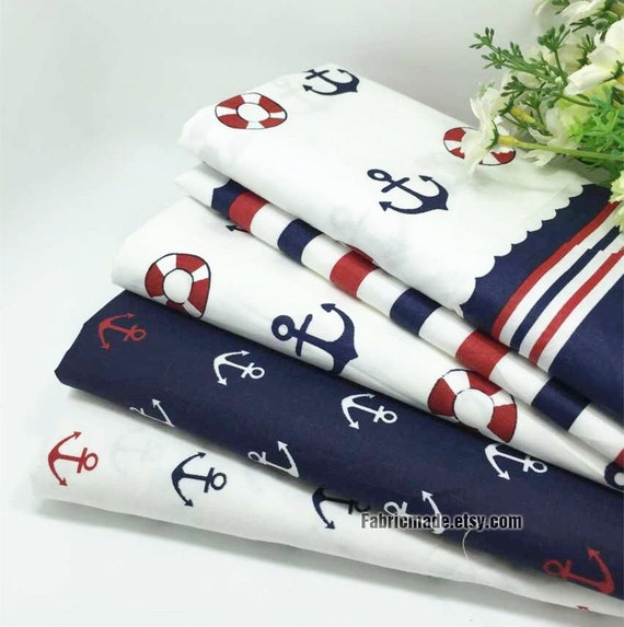 Anchor Cotton Fabric, Nautical Marine Style Red Navy Blue Plaid Anchor Sail Boat Cotton - 1/2 yard
