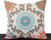 Natural pillow cover One Orange Natural Aqua Gray Rosa Mandarin decorative throw pillow cover sham cushion cover home decor