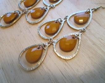 Gold Tone Chandelier Earrings with Brown Teardrop Dangles
