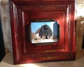"Huge antiqued red ""8 x 10"" tin ceiling tile picture frame"