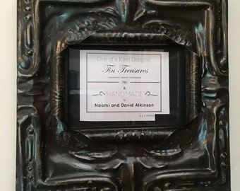 5 x 7 distressed dark metal colored antique tin ceiling tile picture frame