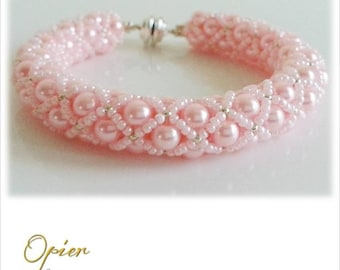Hand Woven 6mm Light Pink Czech Glass Pearl Bracelet with Pearl Pink seed beads, silver accent beads, Silver magnet Clasp