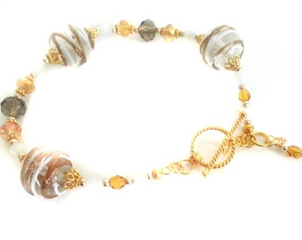 Gold and white striped Lampwork Bead Bracelet and matching earring set with Vermeil Gold clasp and earwires