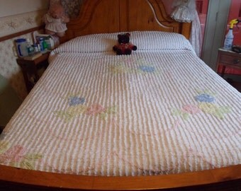 """Chenille Blue, Pink & Yellow Roses With White Background Bedspread, Chennille Bed Covering, 105""""  X  94""""    (T)"""