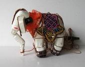 Vintage Elephant marionette, wooden puppet, Nursery decor, puppet show, shelf sitter, gift idea