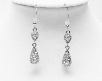 Crystal on Silver Drop Earrings