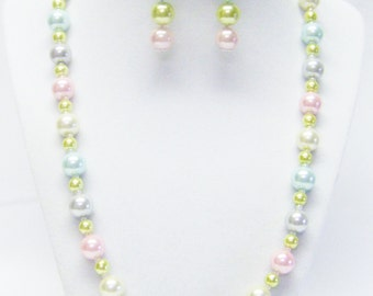 Multicolor Pastels Glass Pearl Necklace & Earrings Set