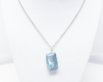 """Small Rectangle Turquoise Speckled Stone Bead Pendant Necklace (19"""")"""
