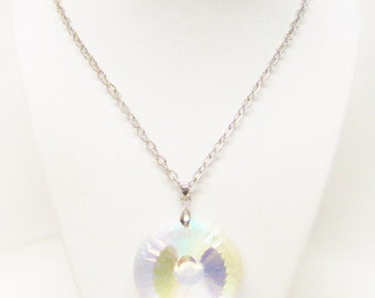 Hand-Cut AB Crystal Donut Shaped Circle Pendant Necklace