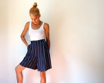 dressy high waist shorts 80s vintage navy and white striped nautical shorts cute shorts flowy high waist shorts lightweight hipster preppy