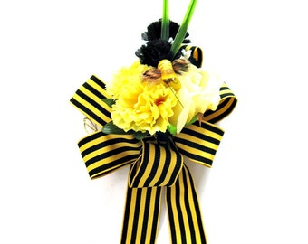 Yellow and black bumble bee gift bow, Gift wrap bow, Special Occasion bow, Large gift bow, Anniversary gift bow, Party decoration (HB90)