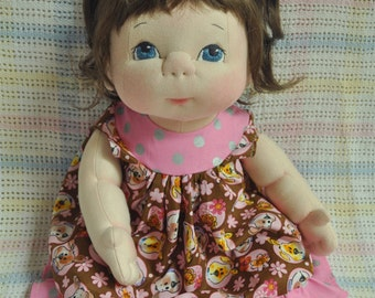 "Fretta's OOAK life size 48 cm / 19"" Soft Sculpture Baby. Light Brown Hair, Blue Eyes. Child-SafeTextile Baby Doll"