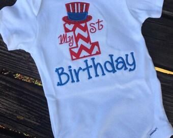 1st Birthday Onesie - Gerber Onesie for 1st Birthday -Birthday Applique - 1st Birthday Applique