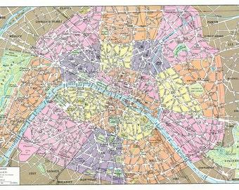 Printable Vintage Paris Map Digital Collage Sheet Map of Paris map Downloadable Paris map Vintage map of Paris Print at home Paris decor
