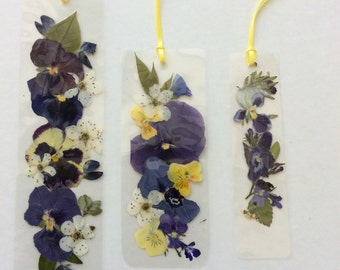 Laminated bookmarks with pansies, violas, lupine and other blooms no. 222