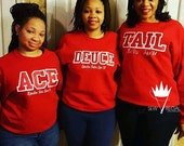 Ace Deuce Tre Quad Tail Custom Crewneck Sweatshirts